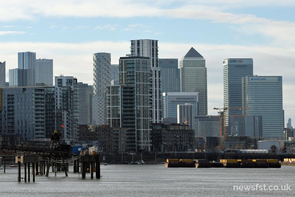 A view of Canary Wharf from Woolwich